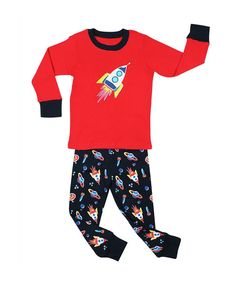 Another great find on #zulily! Red & Black Rocket Pajama Set - Infant, Toddler & Boys by el-ow-el pajamas #zulilyfinds