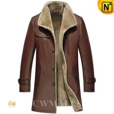 Men's Brown Shearling Trench Coat CW858108 Smart and understated men's shearling trench coats crafted from genuine natural lambskin leather shell and supple fur shearling lining, classics brown shearling long coat keep you looking and feeling amazing though the coldest of winter.  www.cwmalls.com PayPal Available (Price: $1418.89) Email:sales@cwmalls.com