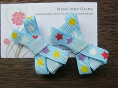 Blue with stars hair clips