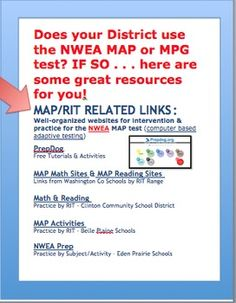 Does your District use the NWEA MAP or MPG test? IF SO . . . here are some great web-based resources sorted by RIT bands for you! ***Was this helpful? ***