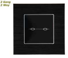 GLSTouch Designer Black Brushed Aluminium Touch Light Switch (On/Off) 2 Gang 2 Way