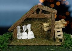 Nativity Stable Creche Large 8 Inch High and Accessories Feed Bags Straw Bales Moss Grass Mat *** See this great product.