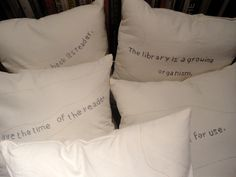Ranganathan's Hospitality. 5 embroidered seat cushions by Deirdre Donohue. Donated by the artist.