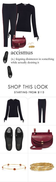 """""""Side stripe trousers"""" by mrs-box ❤ liked on Polyvore featuring Mus, Chloé, Ippolita, Kenneth Jay Lane, MyStyle and fashionoverforty"""