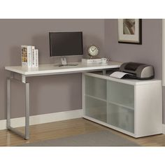 @Overstock.com - White L-Shaped Desk with Frosted Glass - This office desk is ideal for home or business use. The L-shaped desk features a hollow core metal frame, white desktop and shelves with frosted glass.  http://www.overstock.com/Home-Garden/White-L-Shaped-Desk-with-Frosted-Glass/8334608/product.html?CID=214117 $355.99