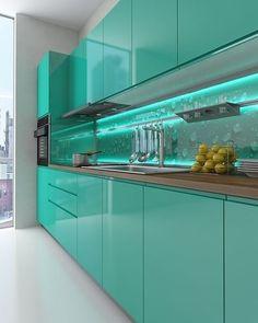 Kitchen Design Gallery, Kitchen Room Design, Interior Design Kitchen, Glass Kitchen Cabinets, Kitchen Cabinet Remodel, Green Kitchen Decor, Home Decor Kitchen, Kitchen Ideas, Contemporary Cabinets