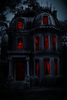 This has to be a house for Halloween. Red in the windows makes it very creepy. Gothic House, Victorian Gothic, Victorian Homes, Vintage Gothic, Gothic Lolita, Abandoned Houses, Abandoned Places, Old Houses, Abandoned Mansions