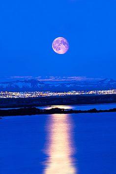 The Moon Over Reykjavik, Iceland