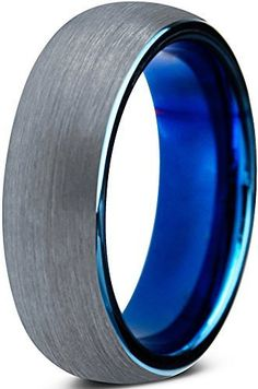 8 mm  Blue Round Domed Shape  Brushed Tungsten Ring Wedding