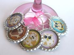 Wine Glass Charms Bottle Cap Wine Glass Charm Owl by LadyInPurple, $9.95
