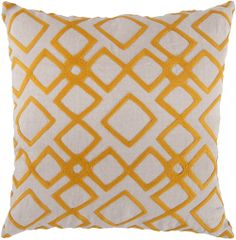 Linen Diamond Accent Pillow in Tangerine & Creme | Luxurythrowpillows.com | CLICK HERE for more information | From $98 +