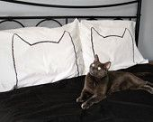His and Hers Cat Nap Pillowcases, Queen Size Set of 2, $30.00, via Etsy.