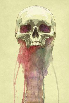 Watercolour/Digital Skull by Vanessa Rivera: http://skullappreciationsociety.com/watercolour_skull_vanessa-rivera/ via @Skull_Society