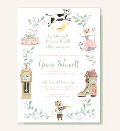 Nursery Rhyme Baby Shower Invitation - Cow Jumped Over the Moon, Hey Diddle Diddle, The Cat and the Fiddle, Little Bo Peep, Humpty Dumpty by Leveret Paperie