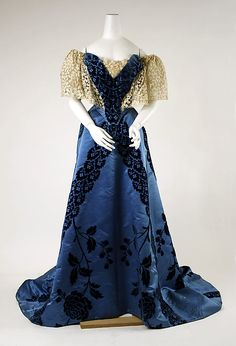 Evening Dress, House of Worth 1900, French, Made of silk and lace