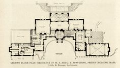Ground Floor plan of the W. S. and J. T. Spaulding Mansion, Prides Crossing, Massachusetts  ARCHI/MAPS : Photo