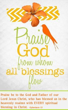 """PRAISE GOD {Ephesians """"Blessed be the God & Father of our Lord Jesus Christ, who has blessed us with every spiritual blessing. Praise The Lords, Praise And Worship, Praise God, Worship God, Lobe Den Herrn, Lord And Savior, Bible Scriptures, Bible Quotes, Praise Quotes"""
