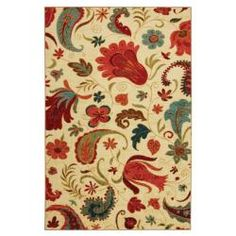 @Overstock - This printed rug is very durable and vibrant. The contemporary design and brilliant shades of red and aqua are achieved through technological advances in machinery and nylon.http://www.overstock.com/Home-Garden/Vibrant-Beige-Multi-Floral-Rug-5-x-8/6452181/product.html?CID=214117 $105.99    Maybe for the kitchen, with the peach in the house. :D