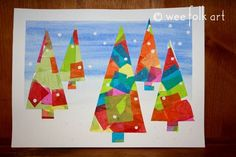 Winter Tissue Paper Trees | Wee Folk Art. Look on website for more ideas