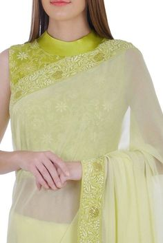 Chartreuse Chikankari Blouse And Chikankari Border Saree