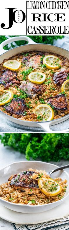 This Lemon Chicken Rice Bake has incredible lemon herb flavors, all done in ONE POT and super fast to prepare! Perfect for any night of the week! www.jocooks.com #onepot via @jocooks