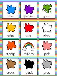 Color Vocabulary Cards by The Tutu Teacher English Activities For Kids, Learning English For Kids, English Worksheets For Kids, English Lessons For Kids, Kids English, Preschool Learning Activities, English Class, Preschool Charts, Preschool Colors