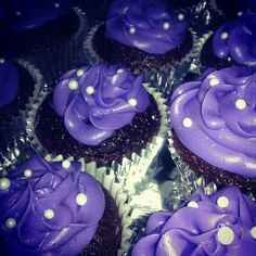Chocolate cupcakes with blackberry frosting (and purple food coloring for a deep purple)