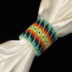 Turquoise Beaded Scarf Slide/Holder $49.99 at www.wacici.com Native American Beadwork