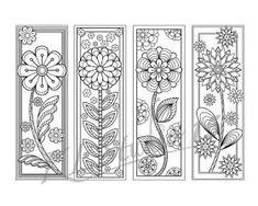 Blooming spring Coloring Bookmarks Page Instant by Spring Coloring Pages, Coloring Pages To Print, Coloring Book Pages, Coloring Sheets, Coloring Bookmark, Mandala Design, Book Markers, Color Crafts, Gel Pens