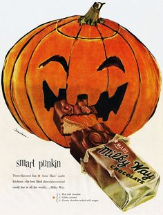 """Milky Way 1953 VINTAGE ADVERTISEMENTS FOR HALLOWEEN"""" I love the illustration and the graphic of retro advertisement, always make me smile! So i selected for you 40 vintage ads for Halloween. Hope you will enjoy! Retro Halloween, Vintage Halloween Images, Halloween Candy, Holidays Halloween, Scary Halloween, Halloween Themes, Halloween Pumpkins, Halloween Decorations, Halloween Stuff"""