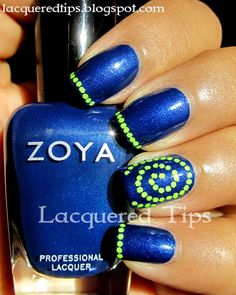 LACQUERED TIPS: Zoya Song and neon green glitters.