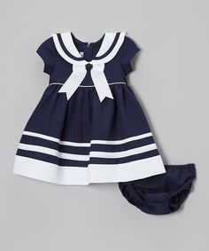 Loving this Gerson & Gerson Navy & White Nautical Dress & Diaper Cover - Infant & Toddler on Baby Girl Fashion, Toddler Fashion, Kids Fashion, Toddler Dress, Baby Dress, Infant Toddler, Little Girl Dresses, Girls Dresses, Costume Marin