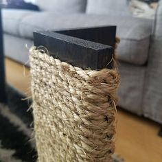 Couch Corner Cat Scratching Post 18 24 Inches Tall, Stained Pine, Sisal Rope