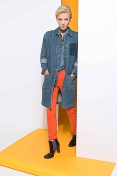 The Tomboy Way: The engineer denim jacket is a new silhouette that tomboys are going to L.O.V.E. this fall. We like wearing it over a half-unbuttoned denim shirt and your colorful jeans from last year.  Tommy Hilfiger   Shoes, not available online.