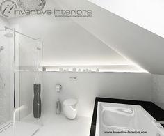 Projekt łazienki Inventive Interiors - biało-czarna łazienka na poddaszu z podświetloną zabudową