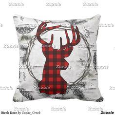 Birch Deer Throw Pillow