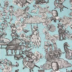 Cosmo - Joli Pomme Elegant Animals On Blue Stripes Oxford Cloth - cotton fabric