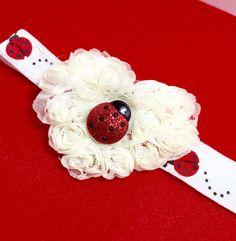 Love Bug LadyBug w/ Ivory Chiffon Rose by CraftinistasBoutique