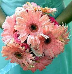 Bridesmaid flowers: Pink Gerbera and Rose Bouquet. Different shades of pink for the bridesmaids