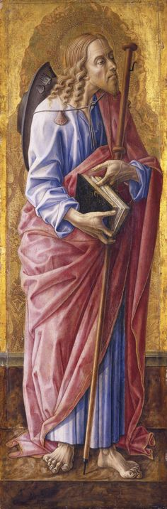 James joined Christ in prayer before his arrest. Crivelli depicts the barefoot Apostle with Christ-like hair, beard and facial features, acknowledging his close relationship with the Savior. Carlo Crivelli, Saint James Major, 1472, on panel, 97.2 x 32.1 cm, Brooklyn Museum of Art, New York, Bequest of Helen Babbott Sanders.