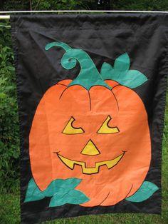 """Halloween Jack-o-lantern Pumpkin Flag Applique Black Background Orange 28"""" x 40"""" #Unbranded"""