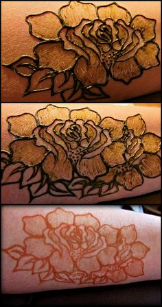 Henna Rose  Henna Bee Designs - great example of henna done with shading.