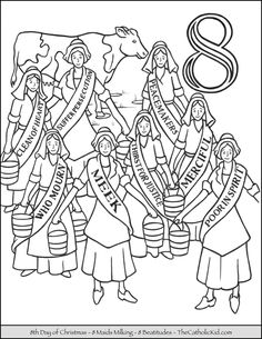 eighth day of christmas eight maids milking coloring page