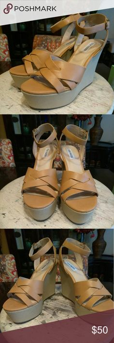 JUST IN!!! Steve Madden-Orlena Tis' the season!!! Perfect wedge that you can throw on with anything and look FAB!!! Faux leather upper, man-made sole, adjustable ankle-strap closure, 5in heel & 2in platform. Worn twice so in great condition inside and out!!! Let's make some offers Ladies 😉 Steve Madden Shoes Wedges