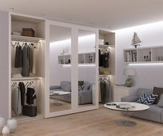 Full height mirror doors inside the spray painted MDF frame - March 02 2019 at Mirrored Wardrobe Doors, Mirror Closet Doors, Sliding Wardrobe Doors, Mirror Door, Entry Doors, Wardrobe With Mirror, Bespoke Wardrobes, Modern Closet Doors, Homemade Home Decor