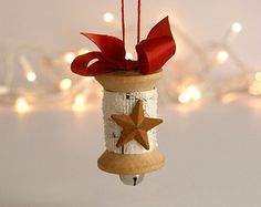 Wooden Spool Christmas Ornament large spool vintage sheet music red ribbon glitter rusty star jingle bell under 15 white brown