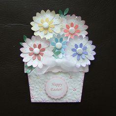 Stampin Up Handmade Easter Flower Pot Card Uses Embossing Folder Gift Card   eBay