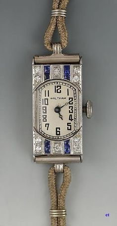 1923 Art Deco Platinum, Sapphire and Diamond Waltham Watch Antique Watches, Antique Clocks, Vintage Watches, Antique Art, Antique Silver, Art Deco Stil, Art Deco Era, Art Deco Jewelry, Jewelry Shop