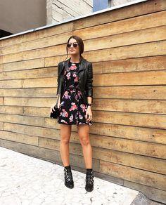 Look do dia ! Jaqueta de couro + vestido curto + botinha