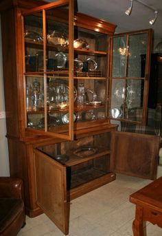 Large 19th Century French Antique Bookcase. It Has Its Original Wavy Glass  Doors.